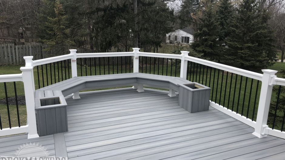 White Rail With Fiber On Castle Grey Deck  Bench And Flower Box Ideas